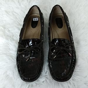 EUC Sperry Top Sider brown leather croc print 8.5